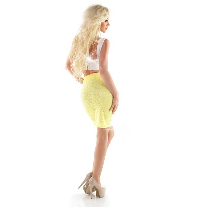 Úzká Sukně Krajkovaná Žlutá b8e23a0d03