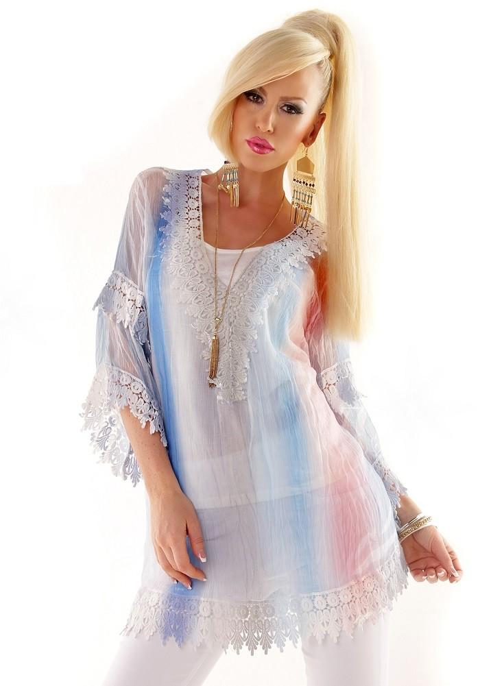 127c6cc3d2f0 2v1 Dámská hedvábná volná letní dvoudílná tunika halenka top s barevným  duhovou potiskem   Plážové mini šaty - Bílá modrá mix