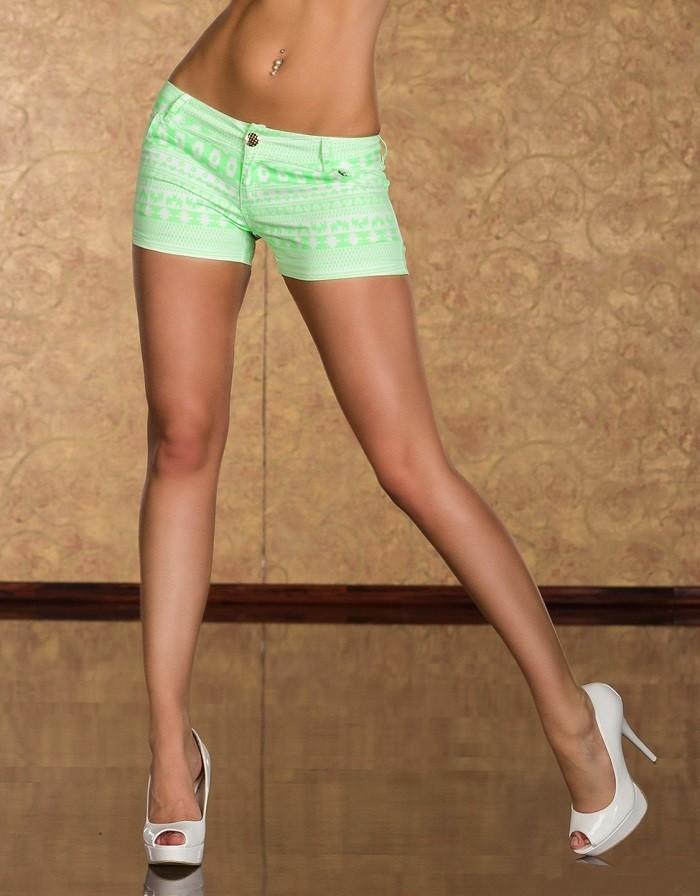 37a28cc41bbf Dámské letní elastické krátké kalhoty kraťasy šortky aztécký vzor - bílá    neonová zelená