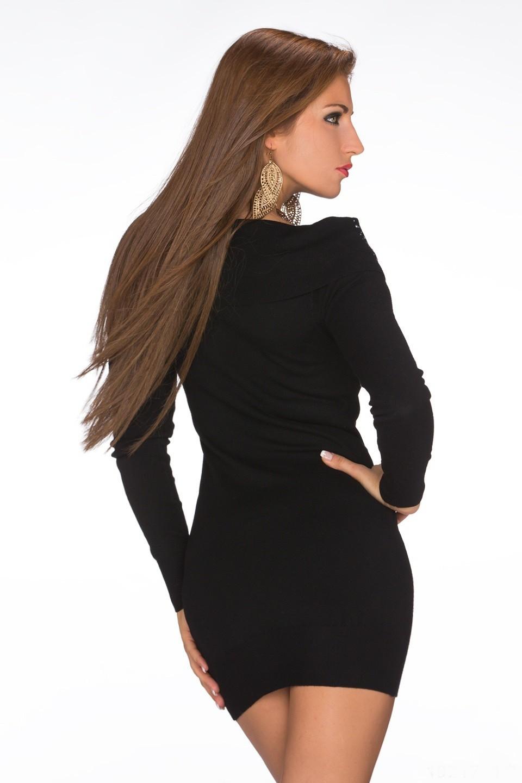24cab487871 Sexy dámský prodloužený pletený kašmírový pulover   minišaty s kamínky