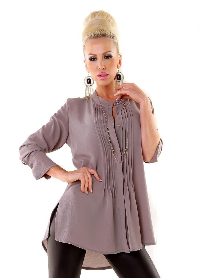 b15860eae9c3 Elegantní volná prodloužená dámská halenka tunika - šedá ...