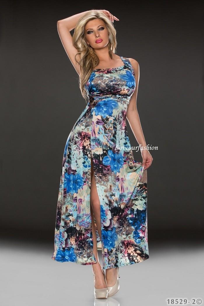 Dámské letní dlouhé šaty s květinami přes jedno rameno - modrá ... ffd6be1b9c
