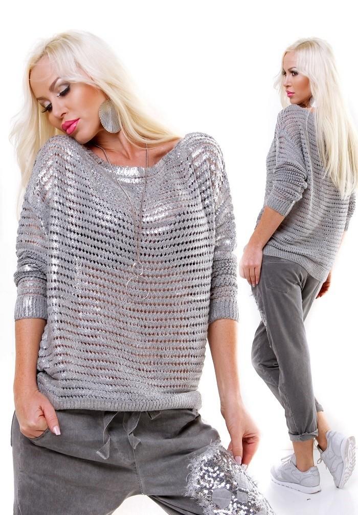 Exkluzivní dámský zimní pletený svetr pulover - světle šedá ... baeebc7e64